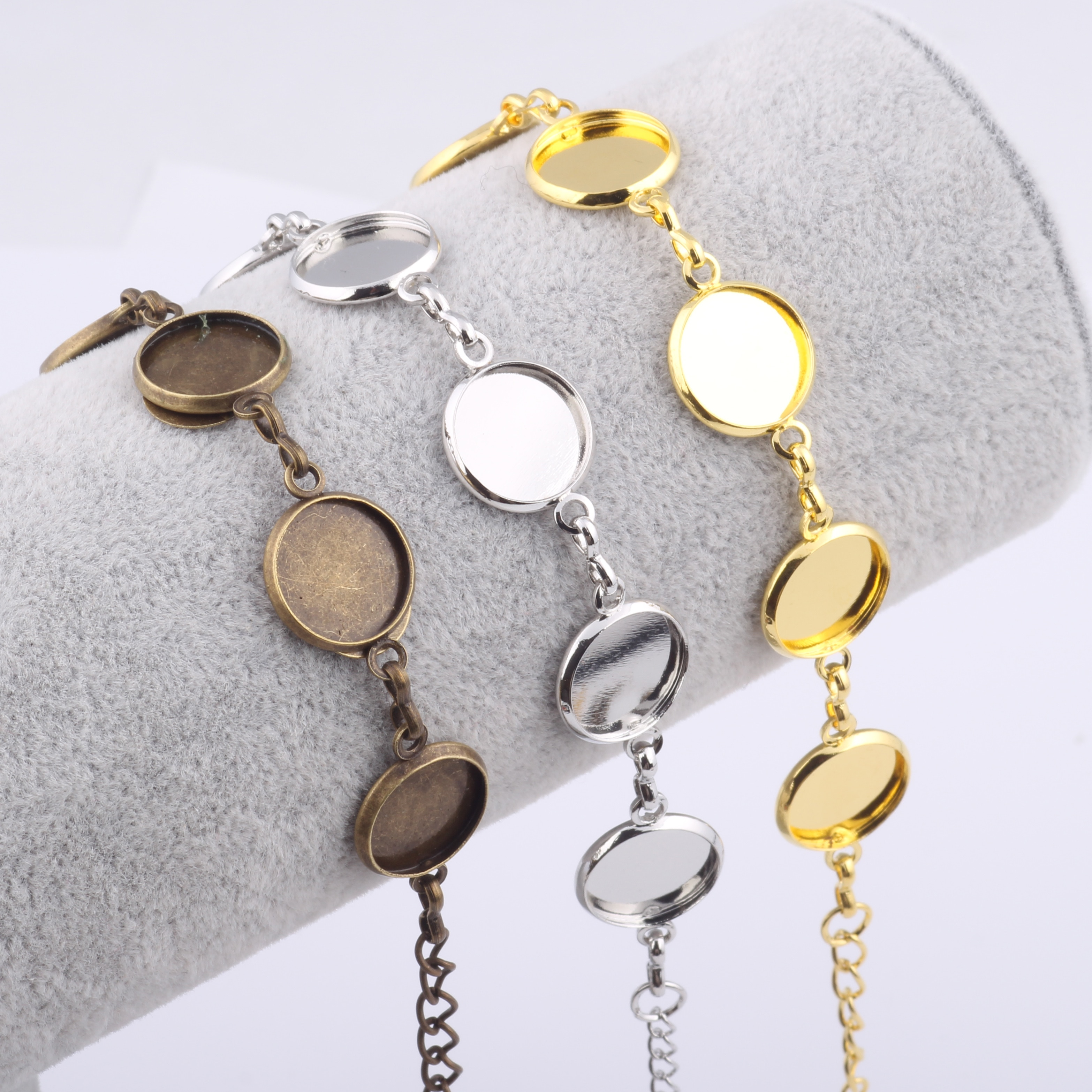 reidgaller 10pcs fit 12mm round cabochon bracelet base setting copper bezel bracelet blanks diy bracelets making supplies