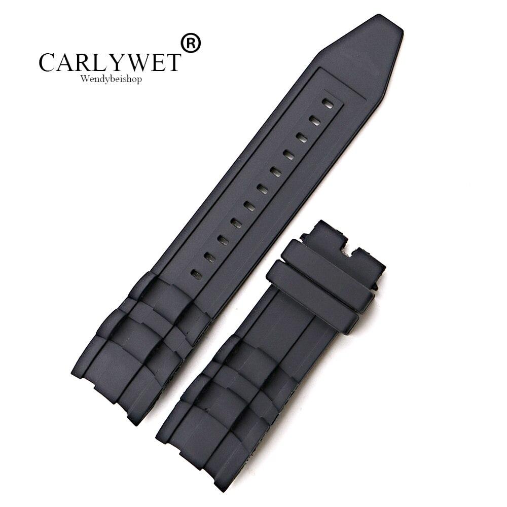 CARLYWET 26 мм Оптовая Продажа Черный Водонепроницаемый высококачественный силиконовый резиновый сменный ремешок для часов ремень для Invicta