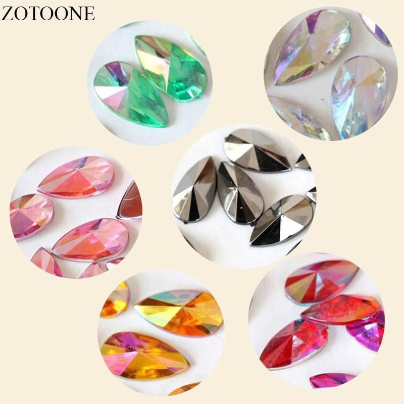 Zotoone 50-100 pçs 8x13mm hotfix strass transferência motivos roupas resina aplicador gliter vestuário acessório diamante ferro grande
