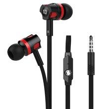 3.5mm nouilles Type écouteur stéréo Super basse dans loreille avec bouton de commande Microphone micro appel musique casque casque mains libres
