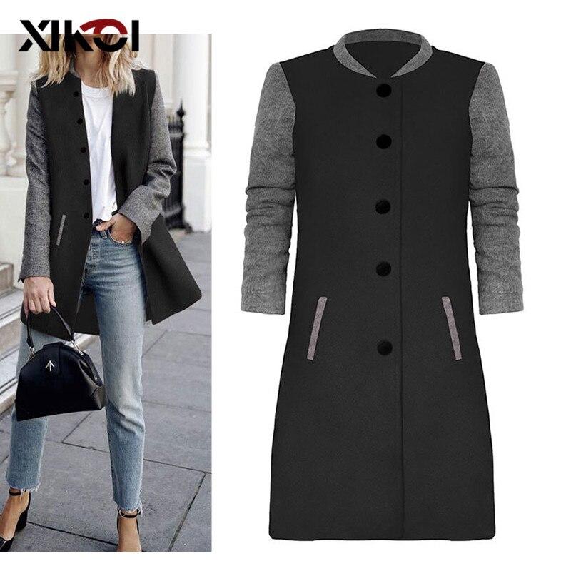 Abrigo de mujer de mezcla fina de lana de retales de XIKOI, abrigos de una botonadura bolsillo elegante hasta la rodilla, abrigos de otoño para mujer
