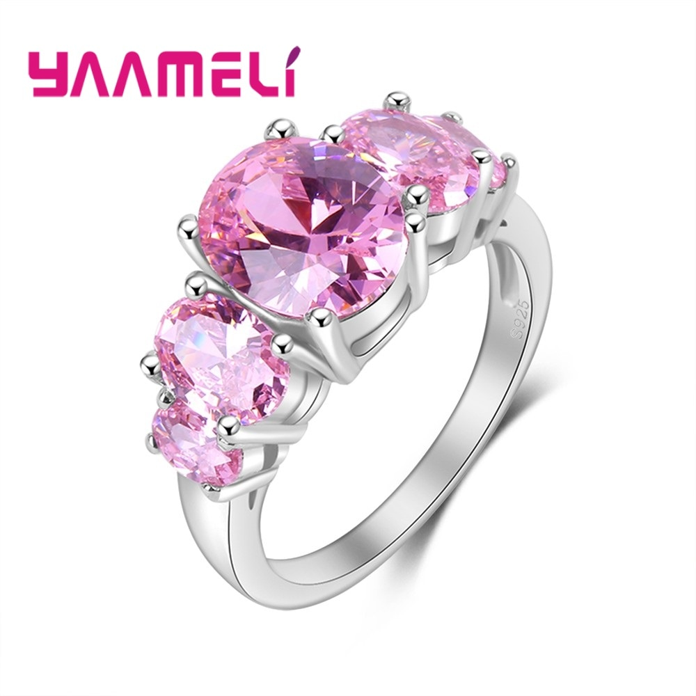 925 Sterling Silver Wedding Rings For Women Pink Oval Zircon Jewelry Bague Bijoux Femme Engagement Ring Accessories cutout butterfly colorful wedding 925 sterling silver rings for women elegant multicolor zircon ring jewelry girl gift bijoux