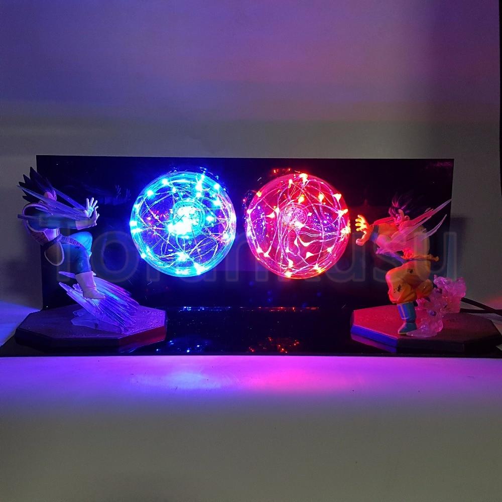 Dragon Ball Z экшн-фигурка Сон Гоку vs Вегета Flighting Flash Ball DIY Display Set Dragonball Super Saiyan ГОКу драгонболл зет лампа DIY169