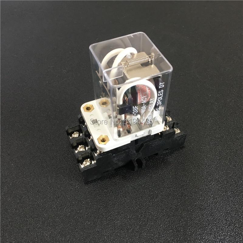5sets JQX-38F 3Z 40A HHC71B relé de alta potencia DC12V DC24V AC110V AC220V intermedio relés 11Pin 3PDT con zócalo Base