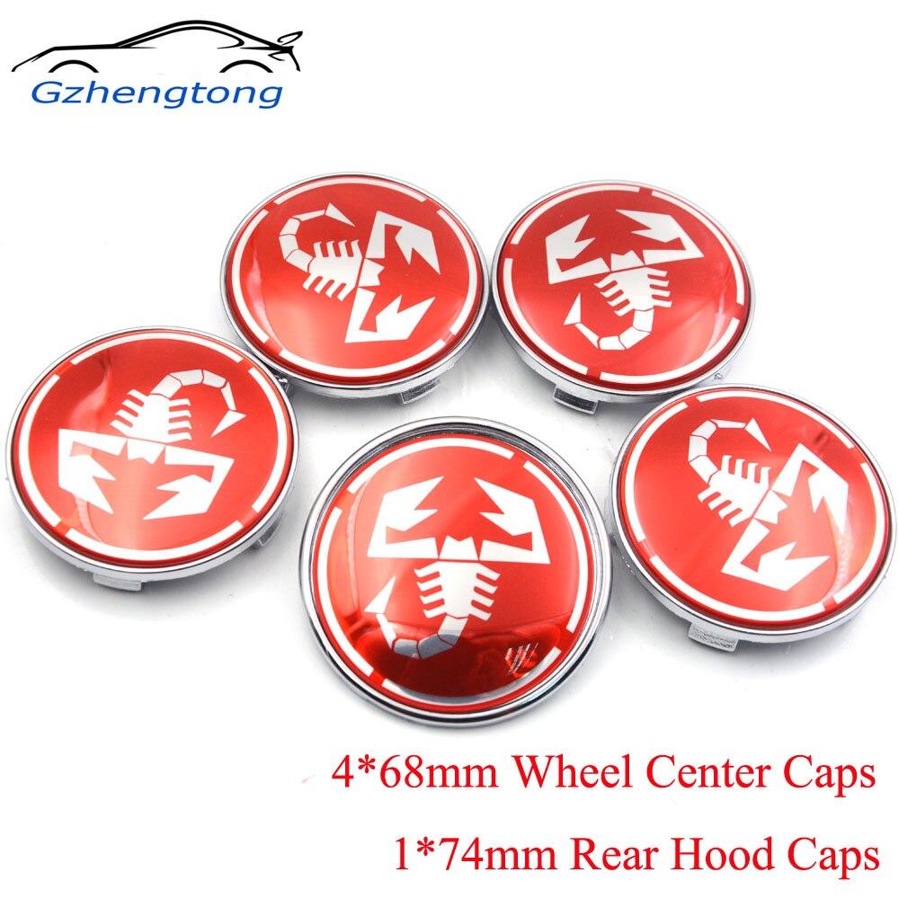 Gzhengtong 5 unids/set 68mm tapas centrales de rueda y 74mm emblema Set Hood Trunk Cap para BMW en logotipo de Scorption rojo