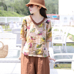 F&je New Arrival Summer Women T Shirt Plus Size Half Sleeve V-neck Loose Tee Shirt Vintage Leaf Print Tshirts Tops Femme D21