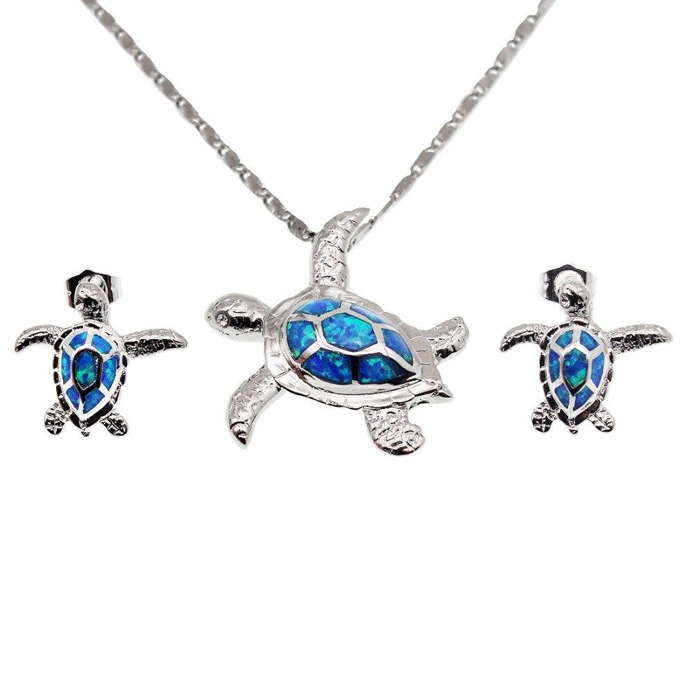 Große Förderung Birthstone Muttertag Geschenke 925 Sterling Silber Austalian Opal Sea Turtle Anhänger Ohrring Modeschmuck Sets