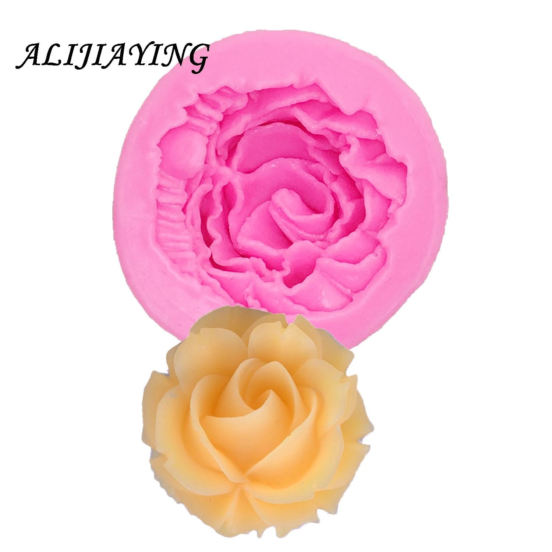 1 Uds DIY molde de silicona con forma de Rosa-Decoración de Pastel, Fondant, artesanía de azúcar, caramelo, resina, Scrapbooking, pasta de goma, joyería D0998