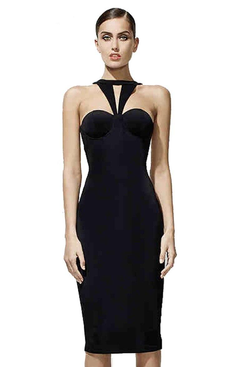 2017 new fashion women celebrity bandage dress spaghetti strap halter backless hollow out split knee length sheath dress hl
