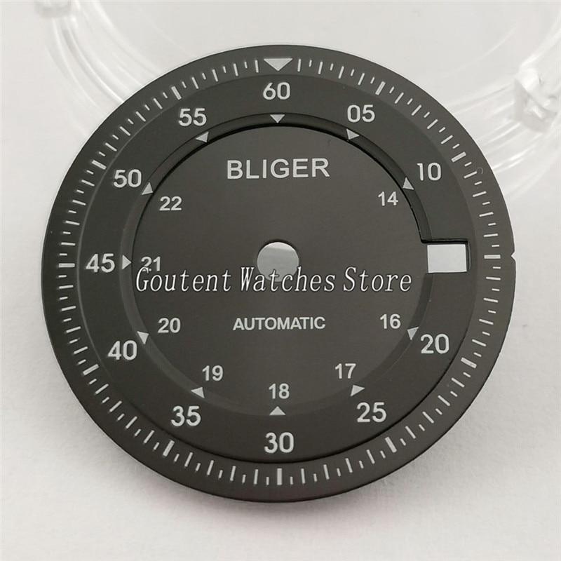 28,5mm Bliger negro Dial fit ETA 2836/2824 2813/3804 Miyota serie 82, A901-1 de movimiento