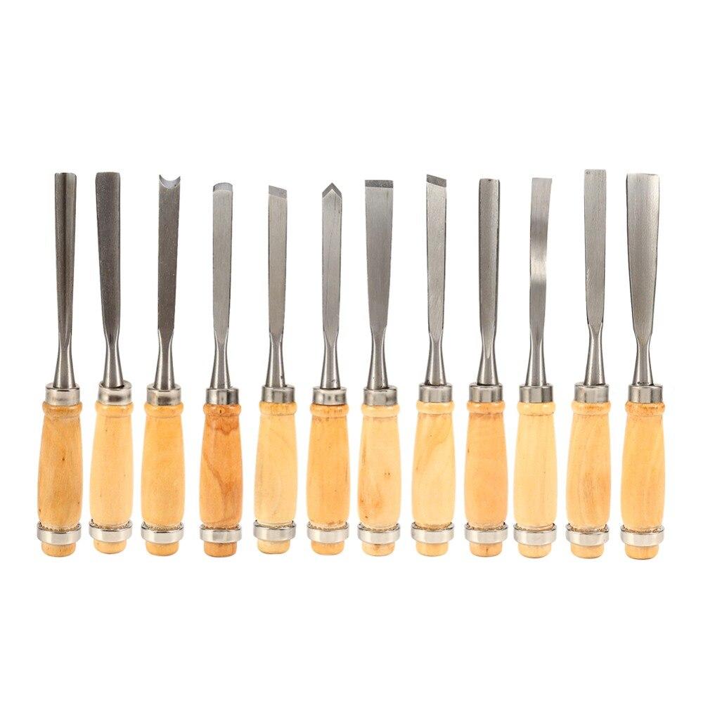 12 teile/satz Holz Carving Hand Meißel Set Holzbearbeitung Professionelle Drehmaschine Gouges Werkzeuge Eine Rolle-Up Durchführung Fall Sind