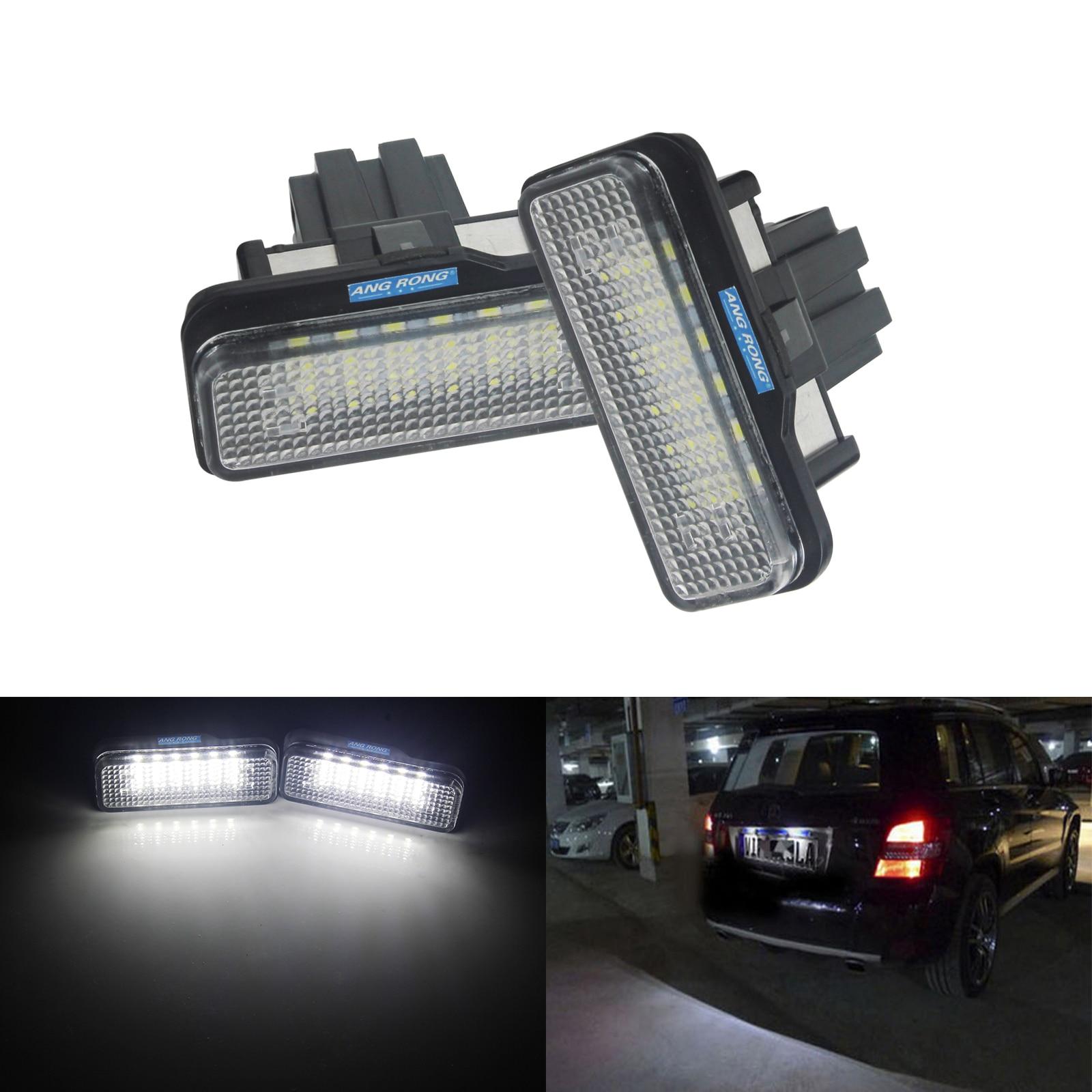 Luz de matrícula ANGRONG 2X LED para Mercedes C E CLS SLK Class S203 R171 C219 W211