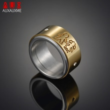 Auxauxme Crystal Family Children Spinner Rotate Ring Gold Titanium Steel Boy Girl Bridal Sets Rings For Men Women Jewelry