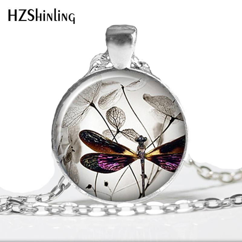 HZ--A535 nuevo Vintage Steampunk libélula collar púrpura collar joyas con diseño de libélula cabujón con vidrio artístico collar HZ1