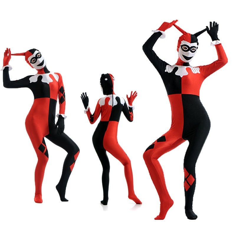 Ainclu Косплей зентай на Хэллоуин Рождественский костюм Харли Квин клоун комбинезон для взрослых