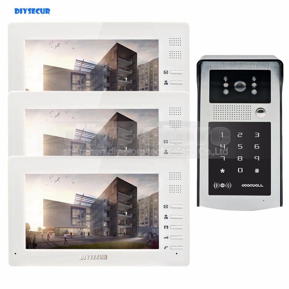 DIYSECUR 7 дюймов HD TFT LCD монитор видео домофон видеодомофон дверной звонок 300000