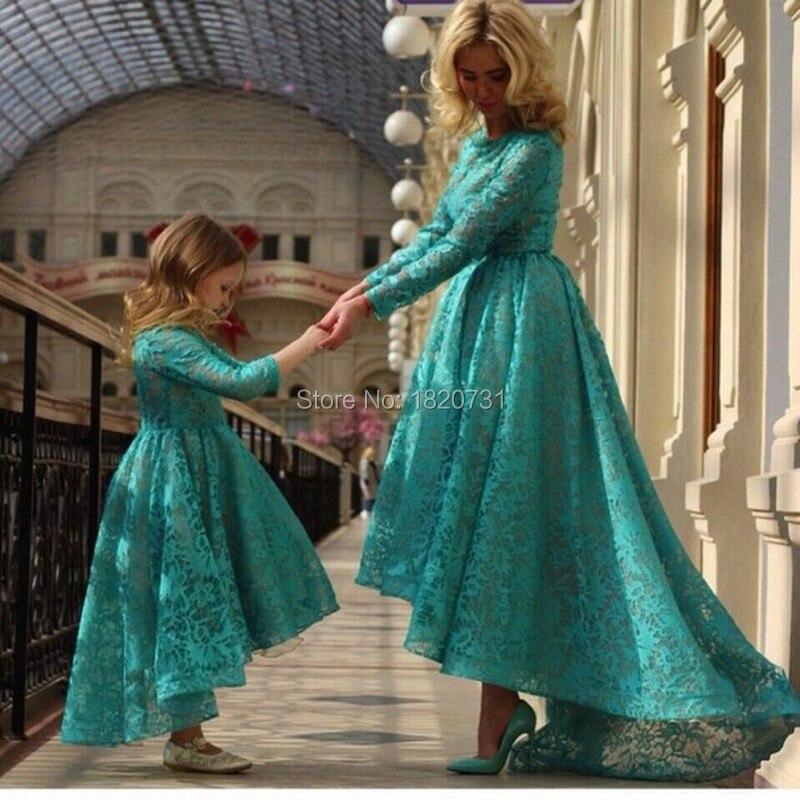 Elegante Jade Verde Rendas À Noite Vestidos Longos Mangas Alta Baixa mãe e Filha Combinando Vestido de Festa O pescoço Longo do Baile de finalistas vestido