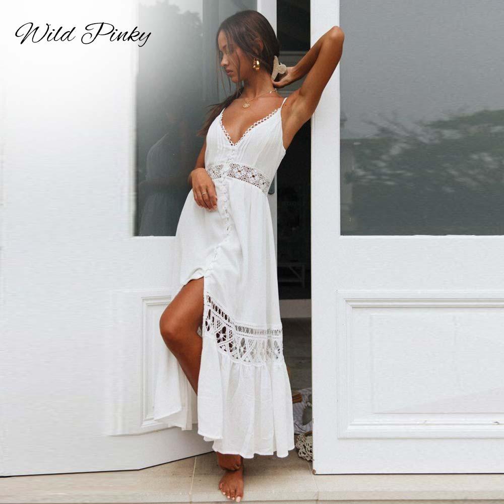 WildPinky espalda descubierta Spaghetti Strap Sexy vestido de encaje elegante 2020 verano alto Split vestido blanco mujeres Maxi vestido largo Vestidos
