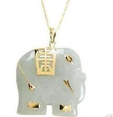 KOSTENLOSER versand>>>>> Asiatischen NATÜRLICHE Weiß Jade Elefant Anhänger Halskette