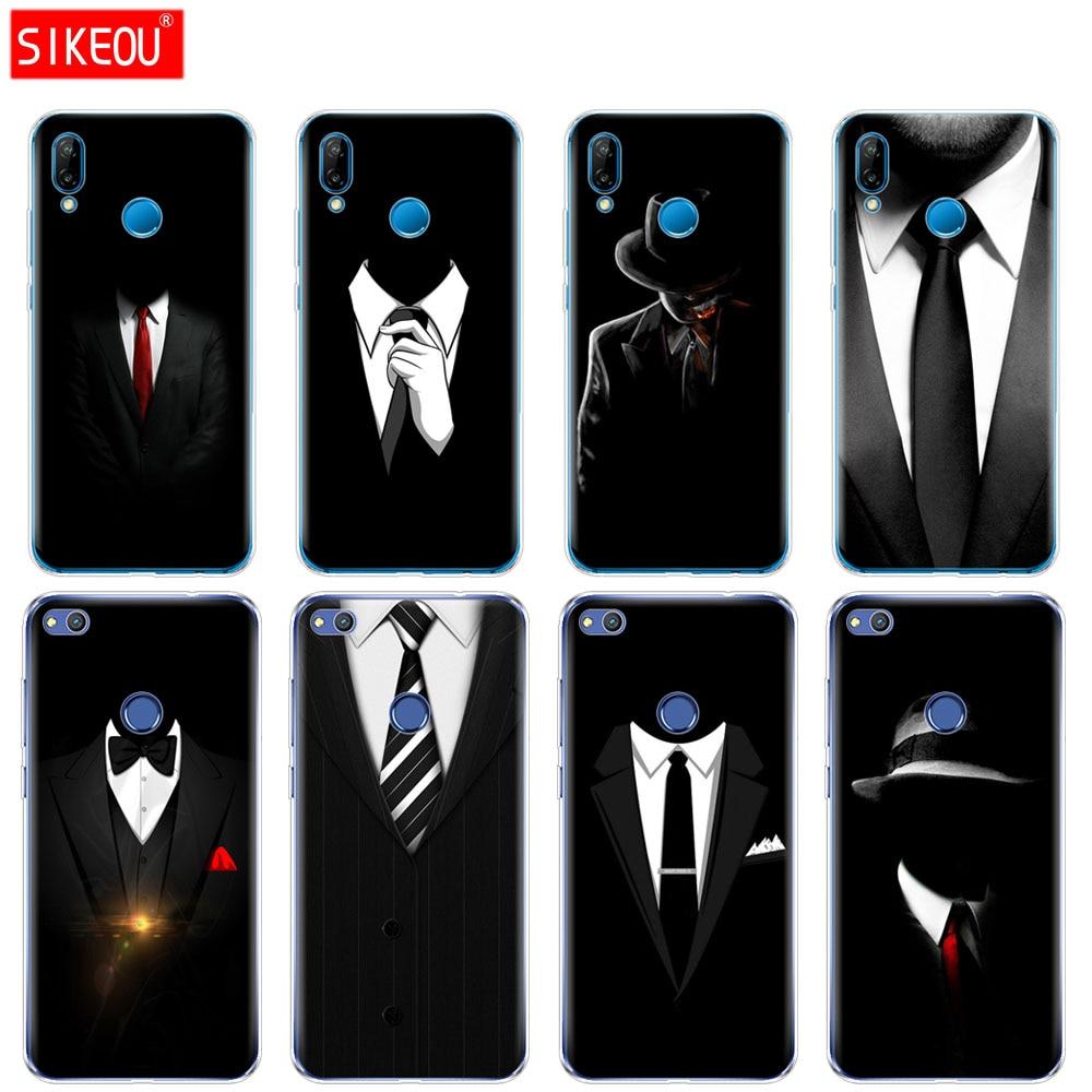 De silicona cubierta del teléfono para Huawei P20 P7 P8 P9 P10 Lite Plus Pro 2017 smart 2018 traje oscuro hombre misterioso