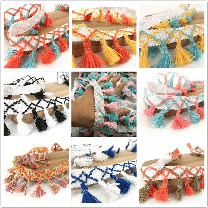 Gran oferta, flecos de encaje, flecos colgantes, adornos de encaje para artesanía de costura DIY, materiales hechos a mano, accesorio de vestir para niños 10 yardas/lote