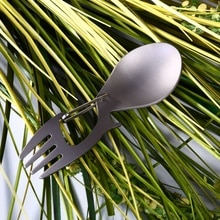 Multi-outil titane Construction Spork multi-fonction cuillère fourchette mousqueton décapsuleur en plein air Camping pique-nique vaisselle