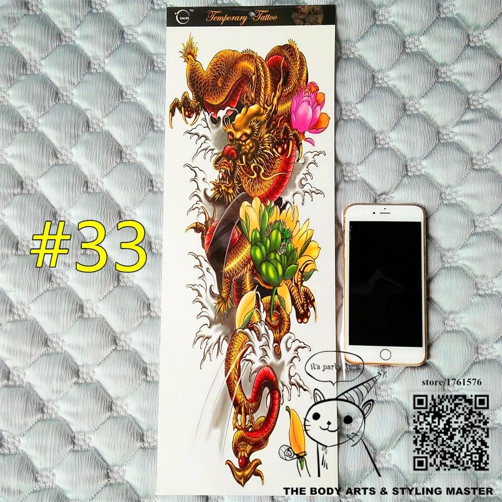 "Arte corporal temporal de manga larga ""The Eastern Dragon"" de shnasign, pegatinas de tatuaje Flash de 48*17cm, productos sexuales impermeables de Henna para adultos"