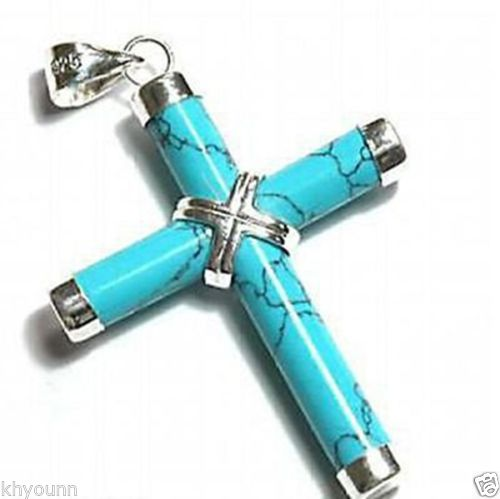 Vente chaude->@ @ nouveau Style >>>>> nouvelle croix de prière Crucifix Turquoise femmes hommes pendentif collier chaîne gratuite-Top qualité fre