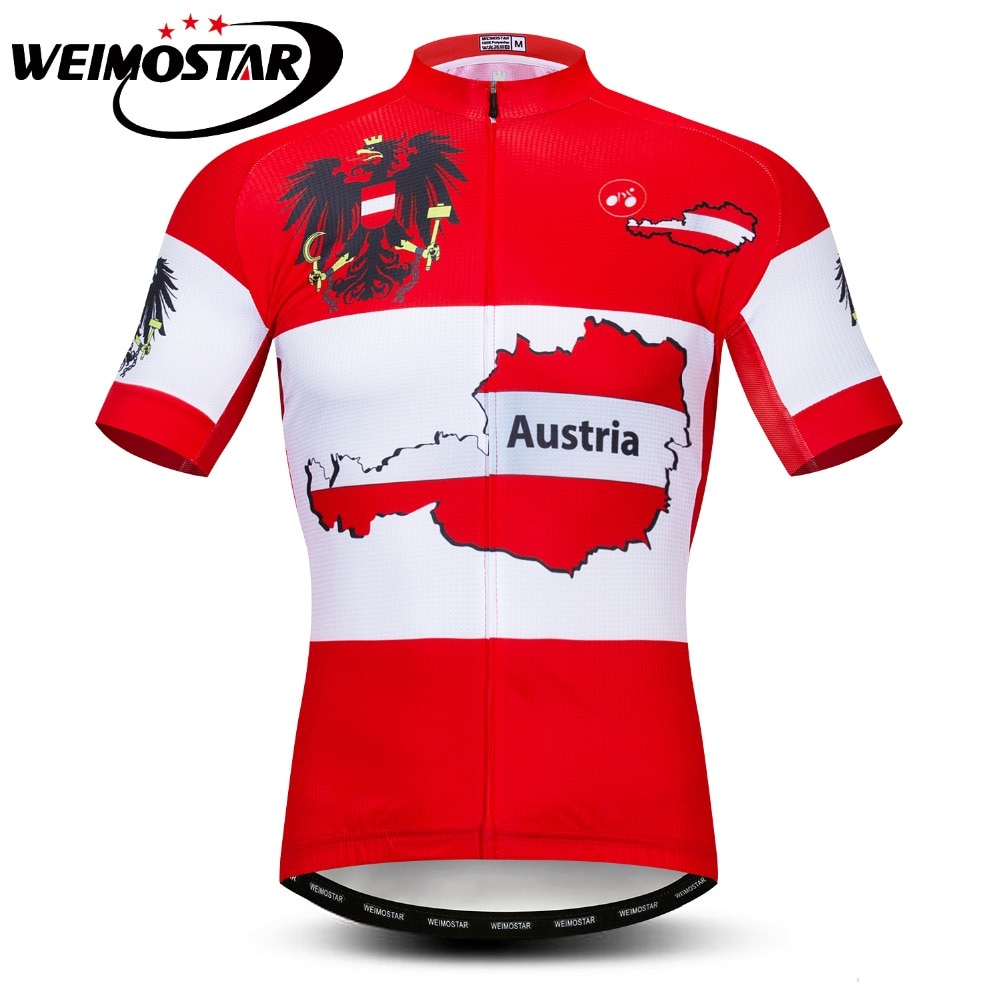 Homens Camisa de Ciclismo Roupas de Ciclismo Ropa Ciclismo Maillot Bicicleta Jersey Verão Bicicleta MTB Camisa Top Sport Wear Austria Team Red