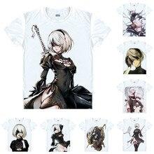 Anime Camisa Coolprint Nier Autômatos NieR Camisetas Multi-Manga Curta estilo Personagem Principal 2B YoRHa 9 S Cosplay Motivs camisas