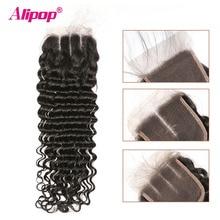 Perruque Lace Closure Deep Wave naturelle brésilienne   Cheveux Remy, 4x4, 10-20 22 24 pouces, 3 parties, partie libre du milieu