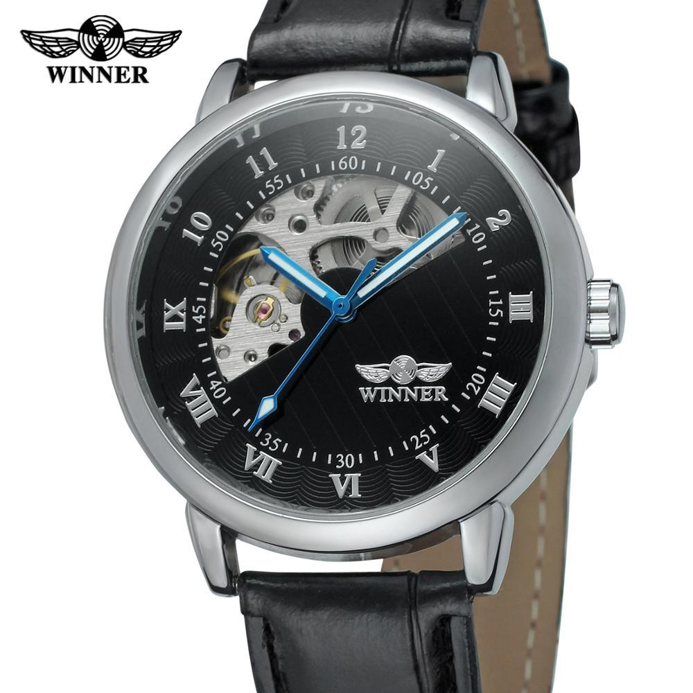 Pulseira de Couro Relógio Vencedor Moda Casual Clássico Preto Algarismos Romanos Soletrar Árabes Mix Mecânico Masculino