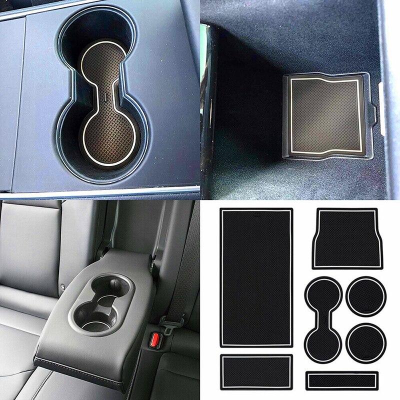 Alfombrilla de látex con ranura para puerta soporte para taza 7 Uds consola central antideslizante resistente al desgaste para la decoración de Tesla protección duradera