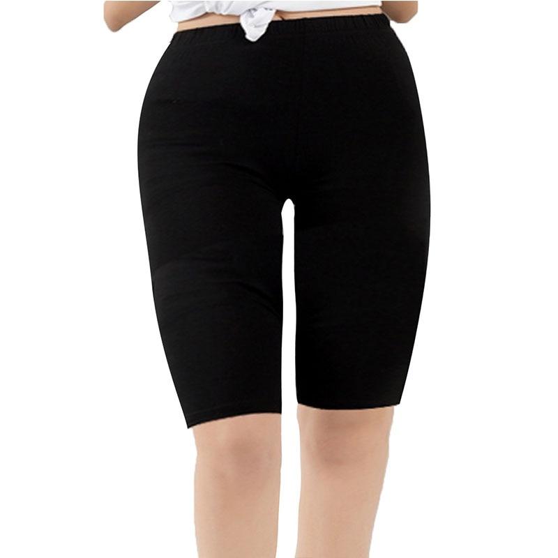 Женские Модальные короткие леггинсы, базовые дышащие гладкие эластичные размера плюс до колен, спортивные штаны, леггинсы для жен...