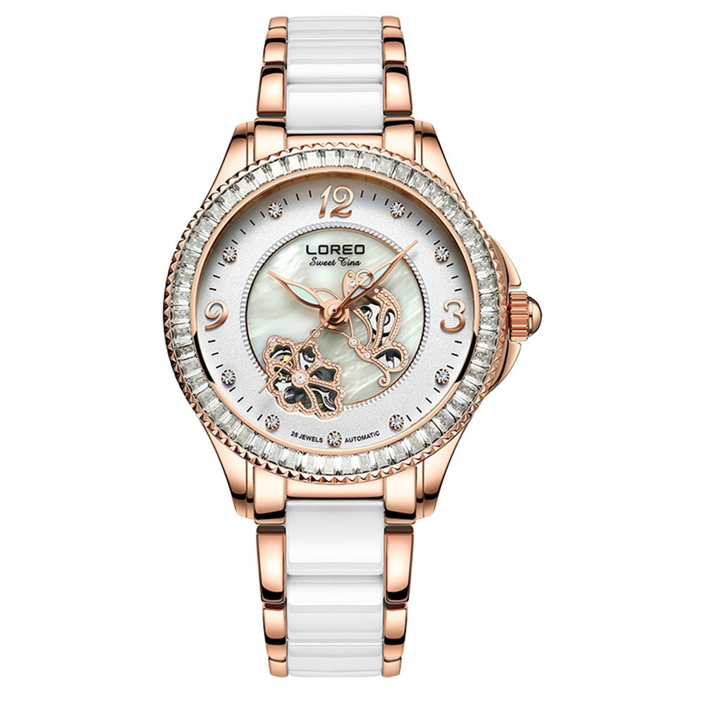 LOREO Fashion Women Diamonds Wrist Watches Ceramics And Steel Watchband Top Luxury Brand Dress Ladies Automatic Mechanical Clock enlarge