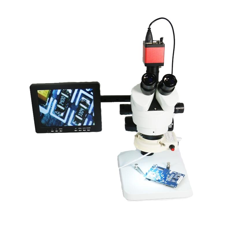شاشة عرض IPS LCD مقاس 8 بوصات ، مخرج HDMI ، VGA ، BNC ، مجهر ستريو ثلاثي العينيات/مجهر إصلاح الكاميرا