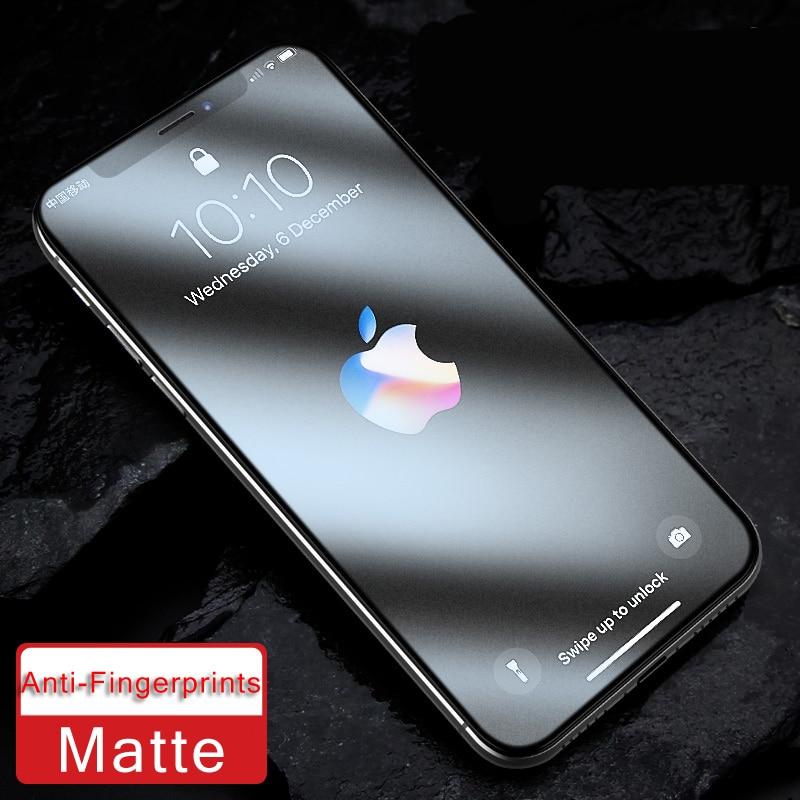 9H cubierta completa Anti Blue Ray Light mate vidrio templado para iPhone X XS MAX XR 11 Pro Max Protector de pantalla esmerilado sin huella digital