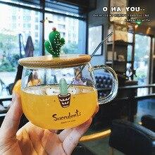 400ml créatif cactus verre avec couvercle style moderne transparent fleur tasse Cactus verre café tasse lait petit déjeuner tasse avec cuillère