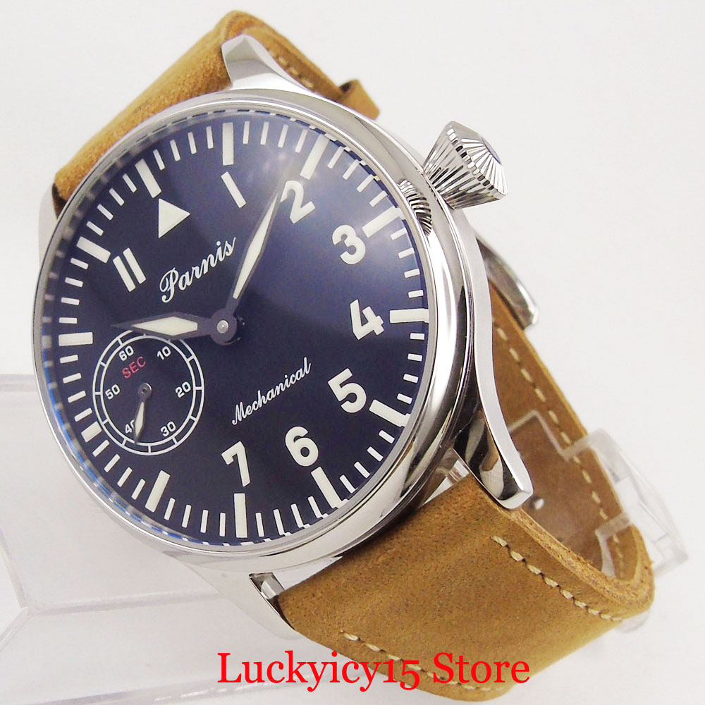 مصقول اليد لف ساعة رجالي مضيئة علامات 44 مللي متر الميكانيكية ساعة اليد 6497 حركة