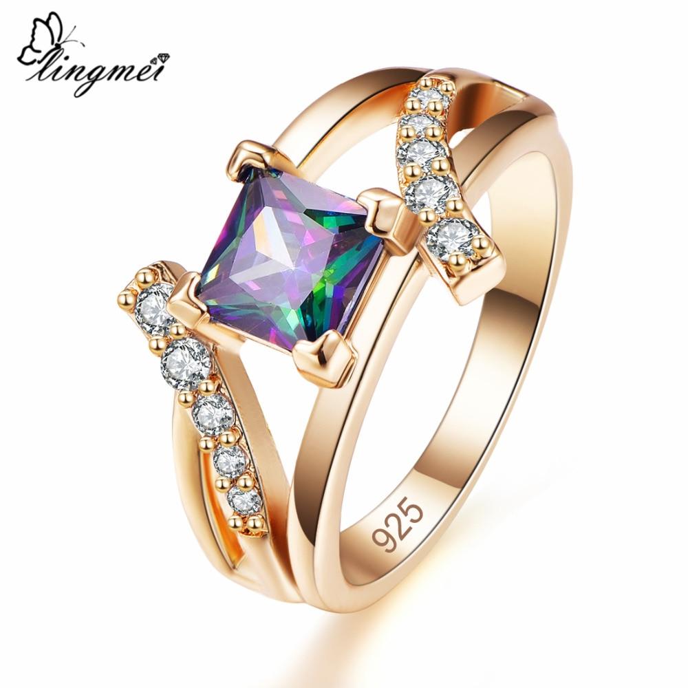 Lingmei nova chegada princesa corte misterioso & royal azul & branco cz goldring tamanho 6-9 unissex casamento banda jóias