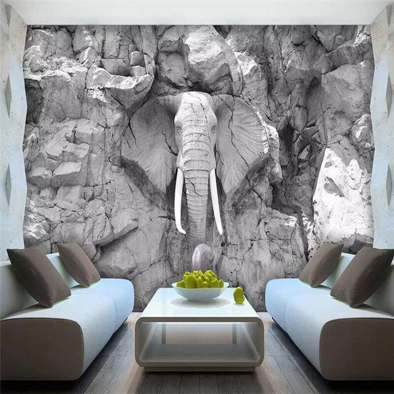 الحديث ثلاثي الأبعاد الفيل الديكور حائط الخلفية إنتاج المهنية خلفية جدارية مخصص ملصق صور الجدار