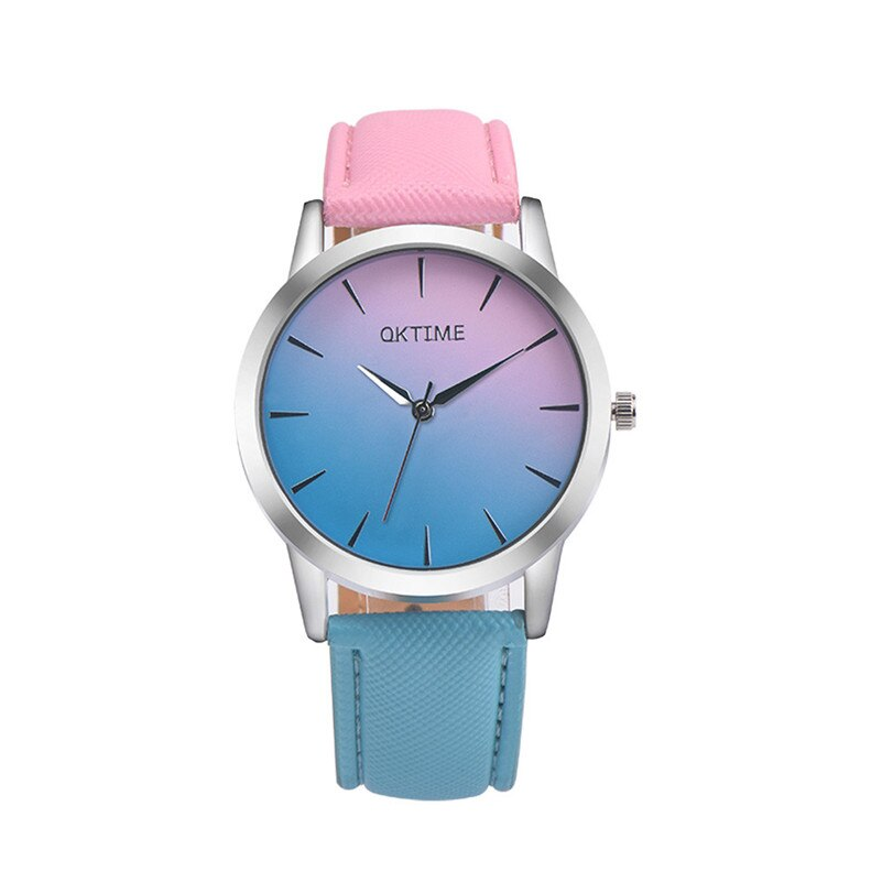 Lovers Uhren Mode Retro Regenbogen Design Leder Band Analog Legierung Quarz Armbanduhr Luxus klassische clook Damen Kleid # C