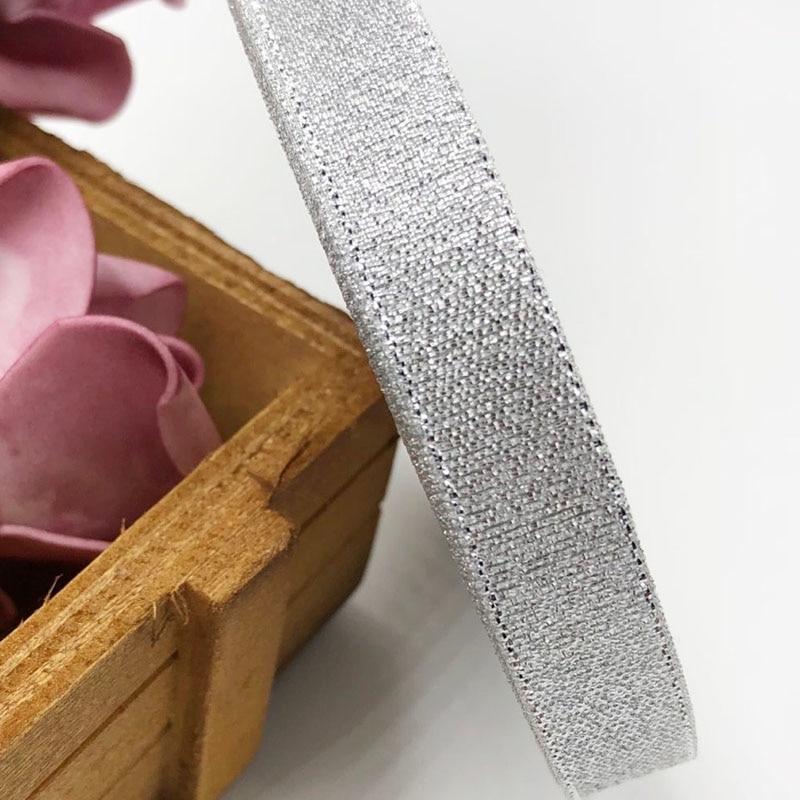 12 мм 1/2 дюйма серебристая металлическая Блестящая лента ручная работа/Свадьба 50Y 2 рулона