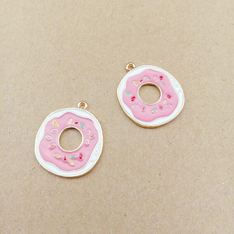 10 Uds. Colgante de donut de 20x29mm, abalorio esmaltado para joyería, pendiente colgante de moda, collar, abalorio de pulsera