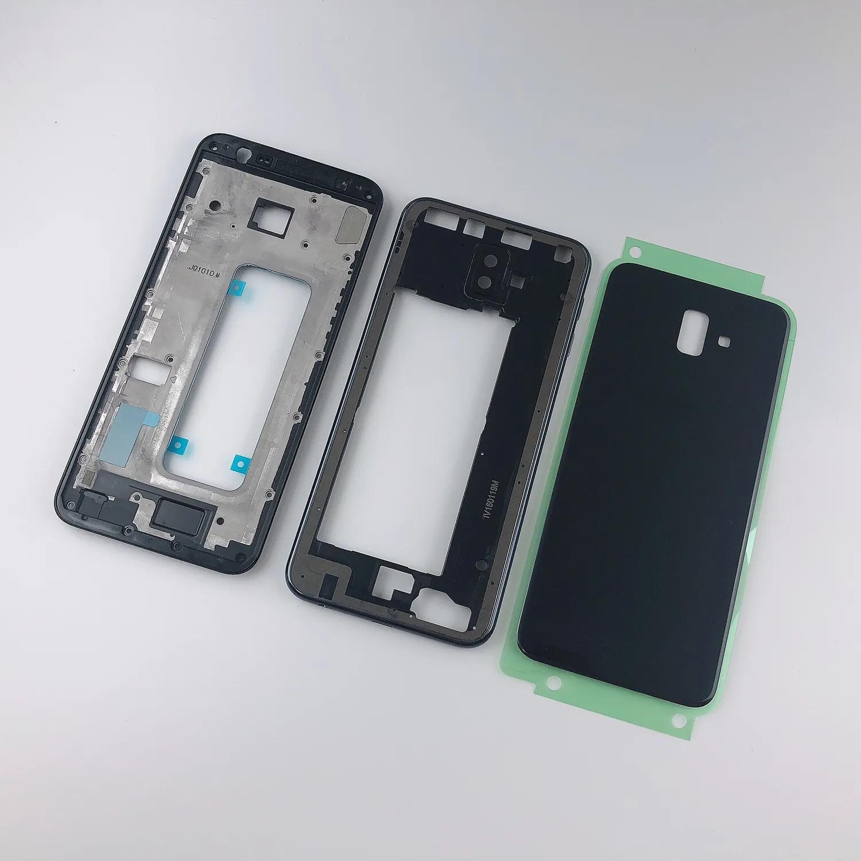Boîtier pour Samsung Galaxy J6 Plus 2018 J6 + J610 J610F, cadre avant + cadre central + couvercle arrière de batterie + couvercle d'objectif d'appareil photo