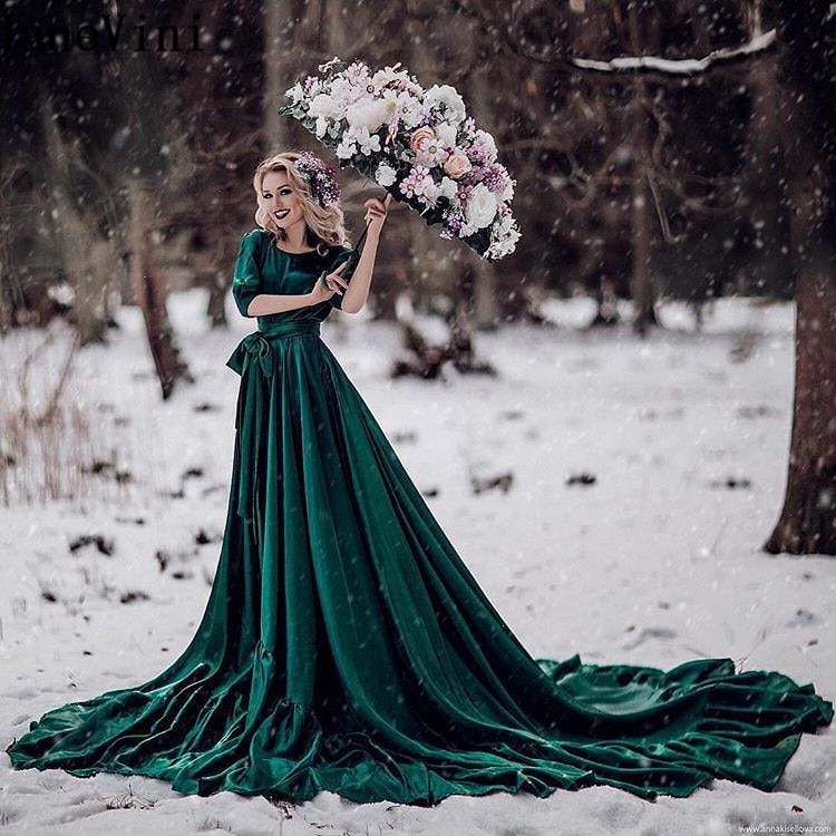 JaneVini Saudi Arabia Evening Dress Muslim Dark Green Velvet Plus Size Gown Evening Dresses Arabic Long Train Formal Party Dress