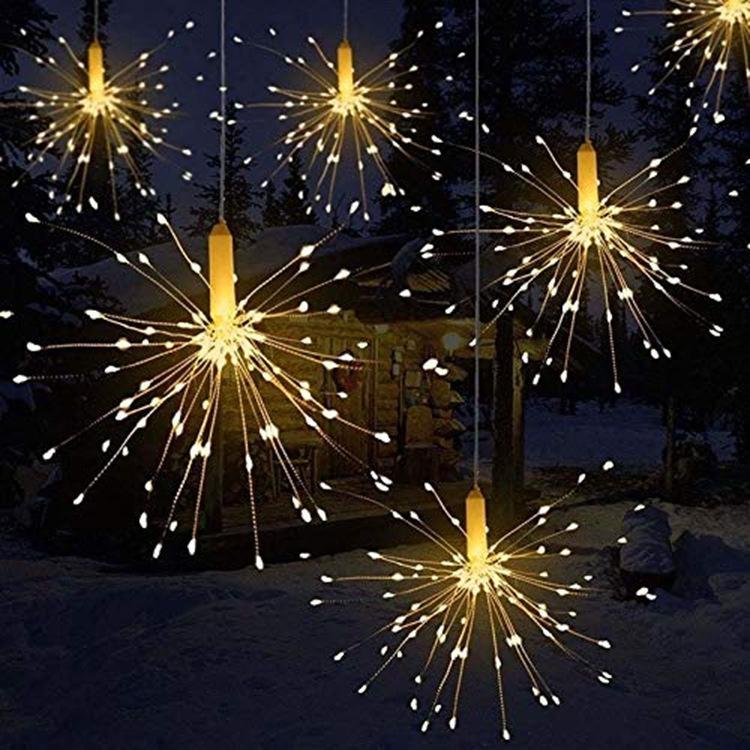 Guirnalda de luces SOLLEDFestival de bola estelar colgante de 600 Leds DIY, guirnalda de hadas de cobre para fuegos artificiales, luces de Navidad, luz parpadeante para exteriores