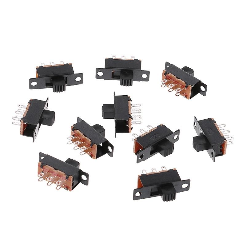 OOTDTY 10 Uds SS22F32 6 pines 2 posiciones DPDT On/On Mini interruptor deslizante 0.5A interruptor de palanca