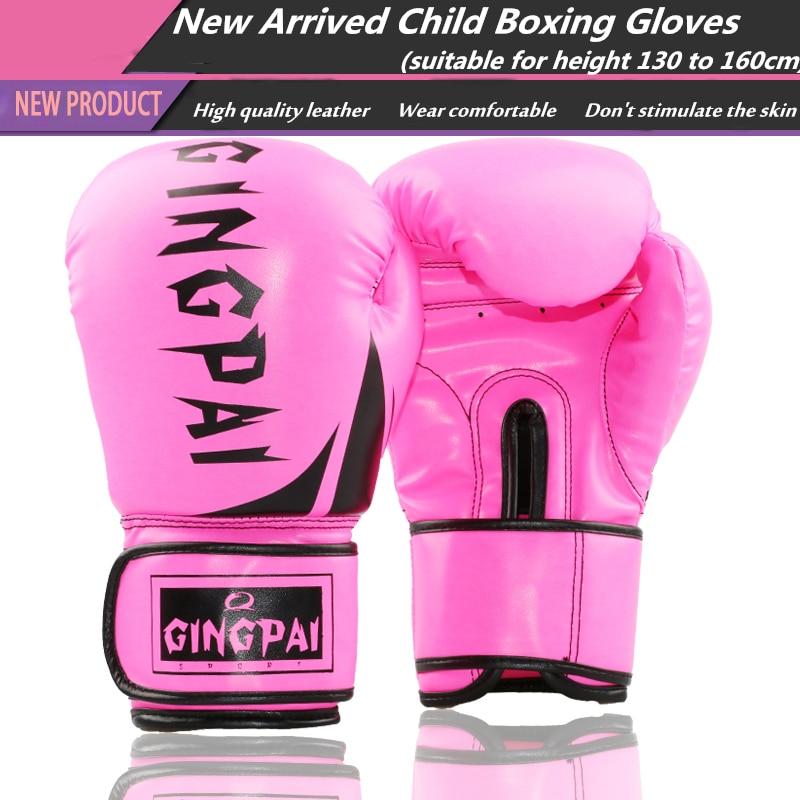 Pink Child Kids Boxing Gloves 6oz Free Combat Muay Thai Glove Kids PU Boxing Gloves for 5-14 Years Boys Girls Birthday Gift