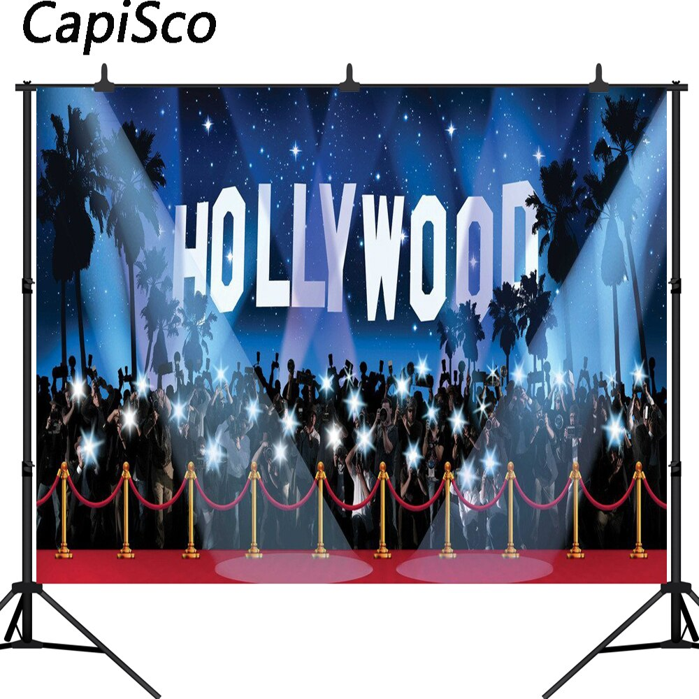 Fondo de fotografía de Capisco estrella alfombra roja reflejo centro de Hollywood fondo de fiesta de cumpleaños sesión fotográfica para estudio fotográfico
